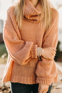 Mauve Oversized Turtle Neck Sweater