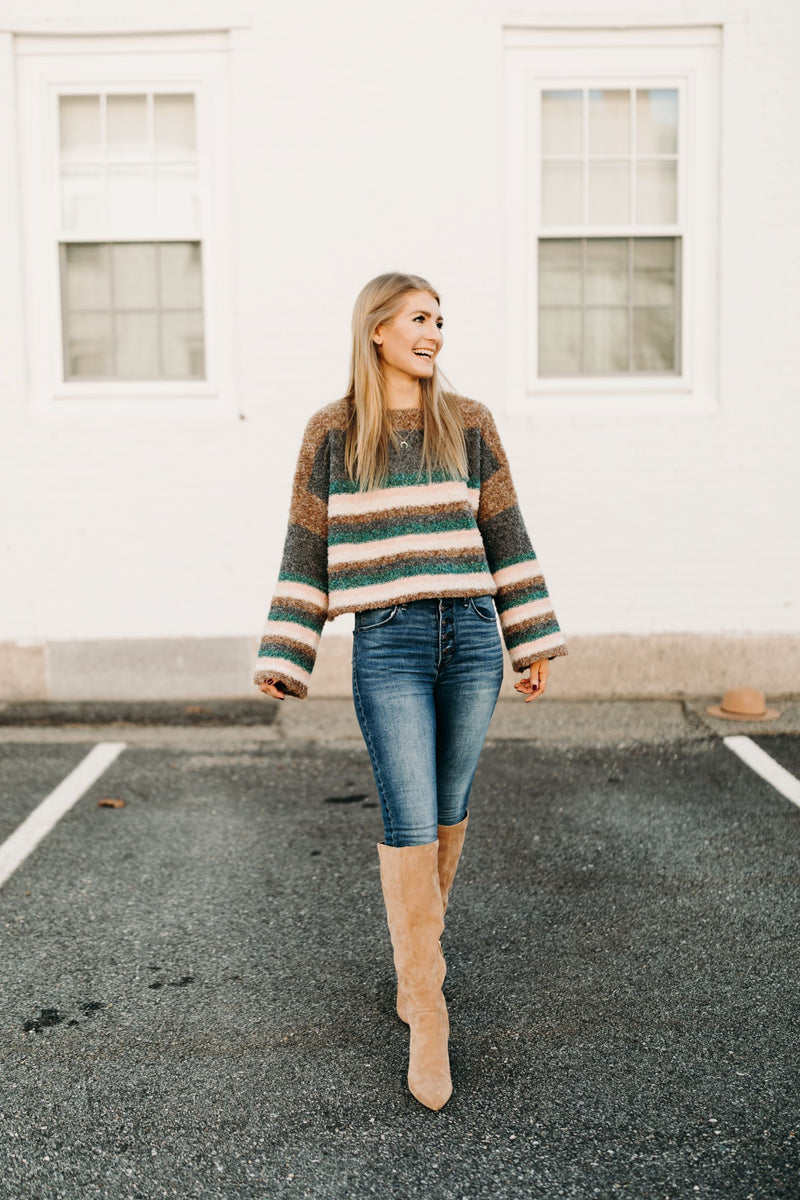 Cozy Striped Fuzzy Sweater