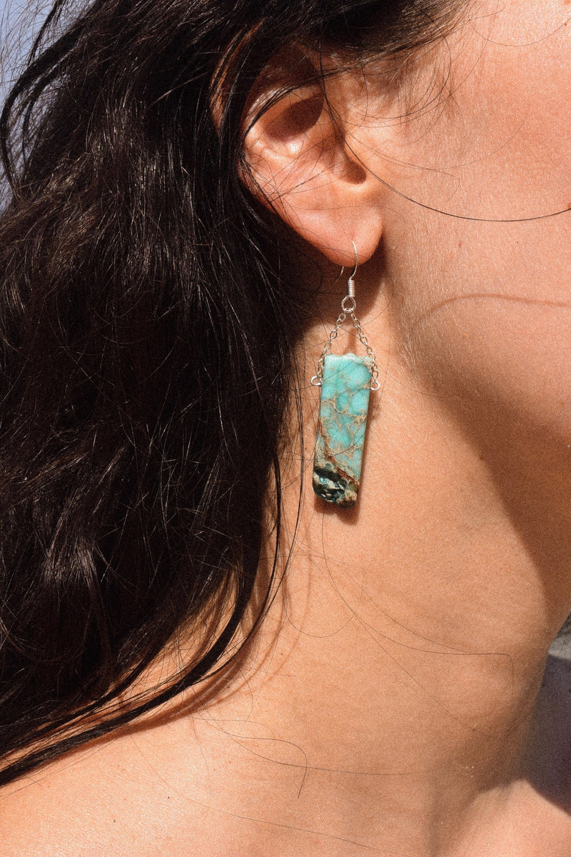 Turquoise Stone Earrings | Silver Plated