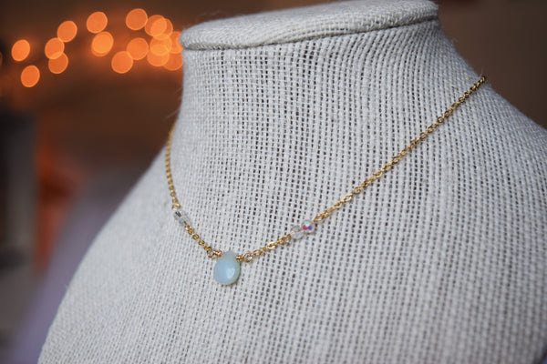 Amazonite Healing Stone Teardrop Gold Necklace