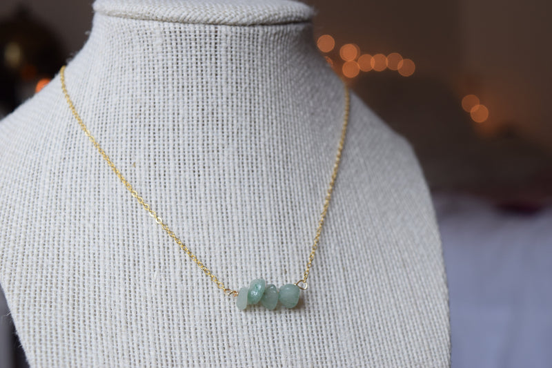Aventurine Healing Stone Gold Necklace