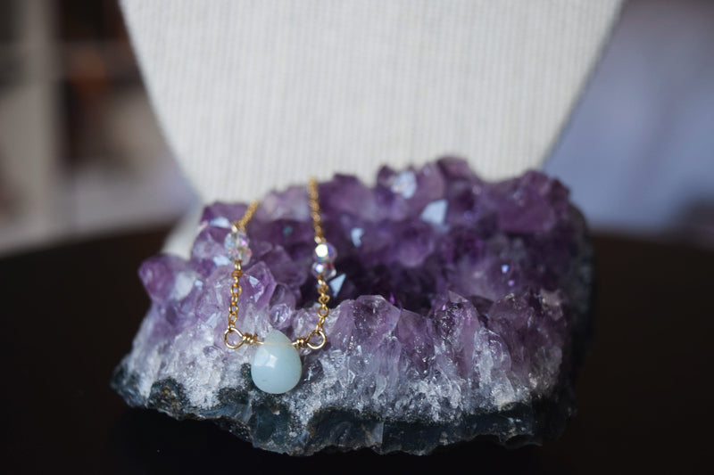 Amazonite Teardrop Healing Stone Necklace | 14k Gold Filled
