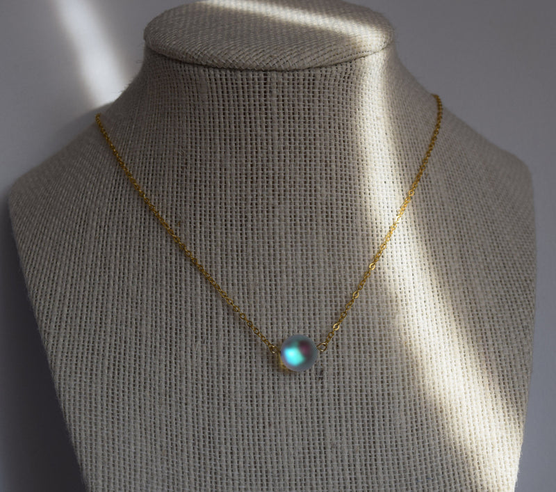 Opal Glow Bead Necklace