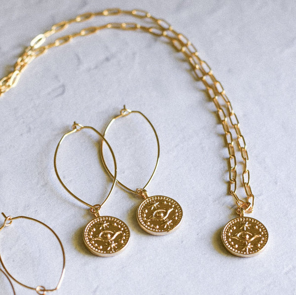 Evil Eye Gold Coin Necklace and Earring Set