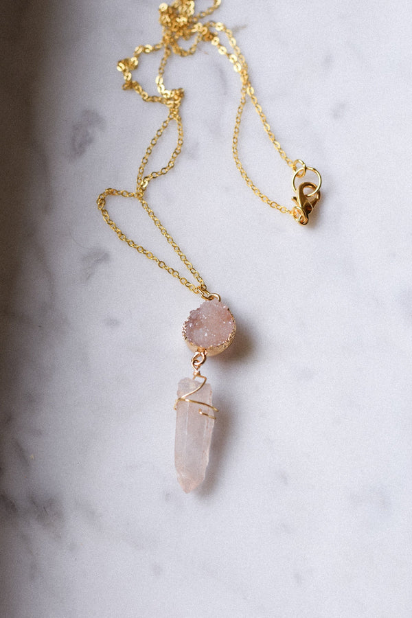 Blush Pink Crystal Quartz Druzy Gold Long Necklace