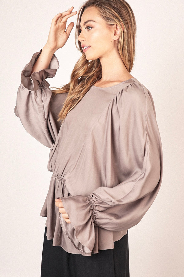 Mocha Lightweight Silky Bat Wing Blouse
