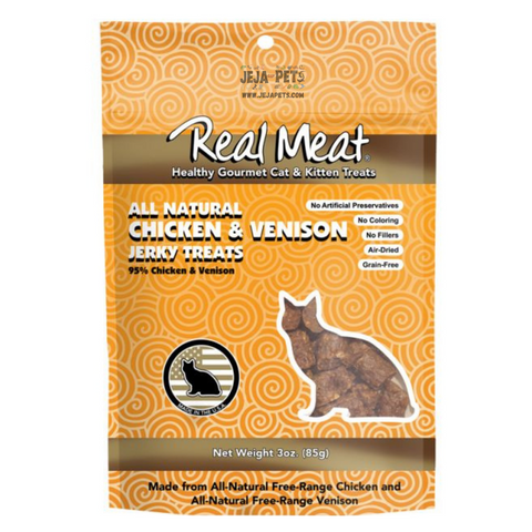 Real Meat Chicken & Venison Jerky Treats for Cats - 85g