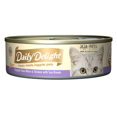 Daily Delight Pure Skipjack Tuna White & Chicken with Sea Bream - 80g