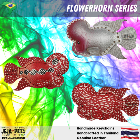 Flowerhorn Series Genuine Leather Handmade Keychains