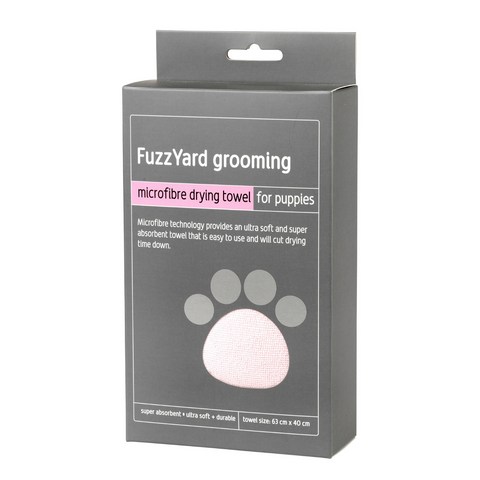 FuzzYard Microfibre Drying Towel (Pink with Grey Trim)