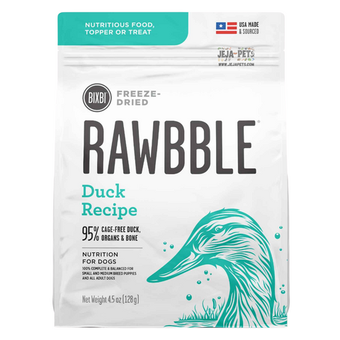 BIXBI Rawbble Duck Freeze Dried Dog Food - 127g / 340g / 737g