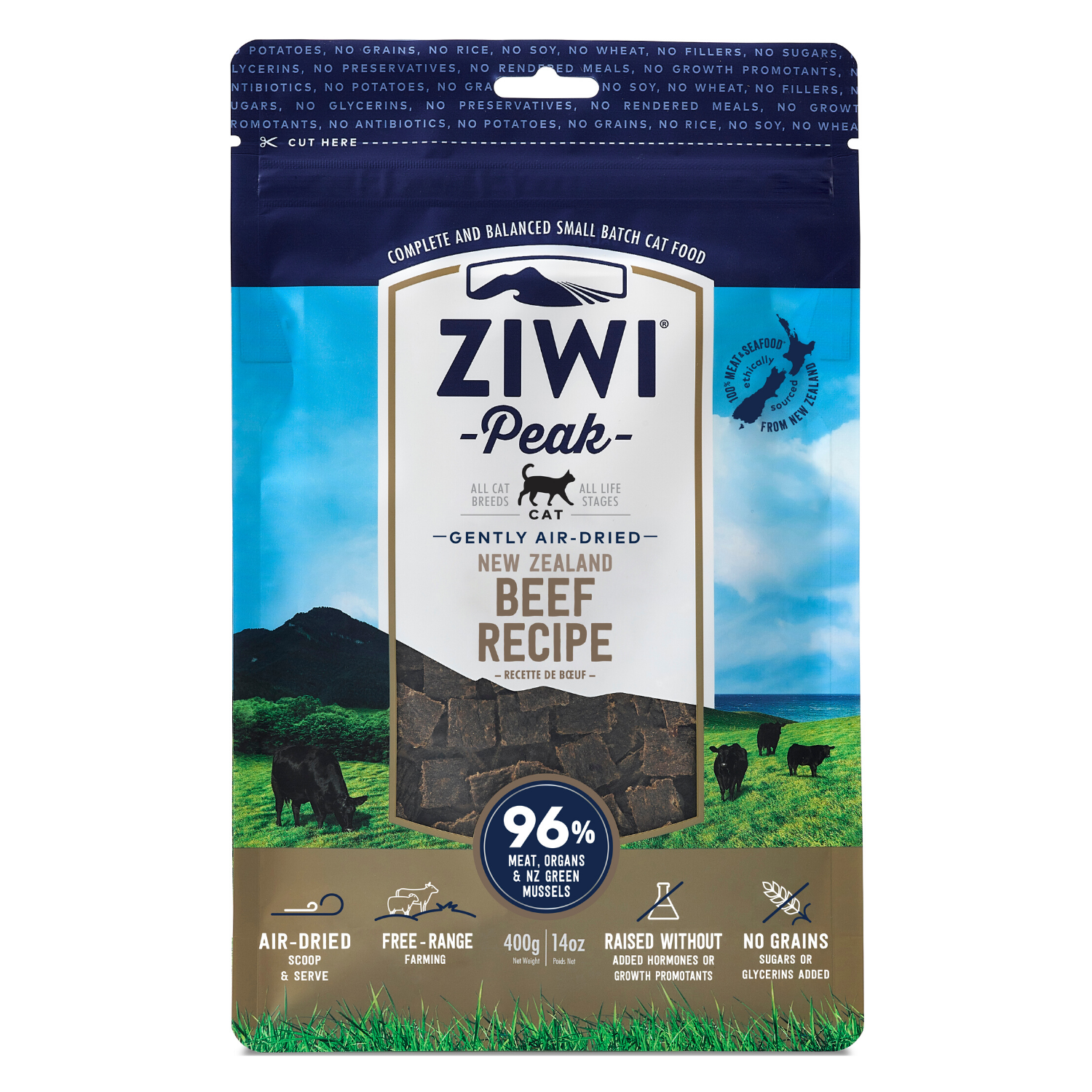 ZIWI Peak Air-Dried (Beef) Cat Food - 400g / 1kg