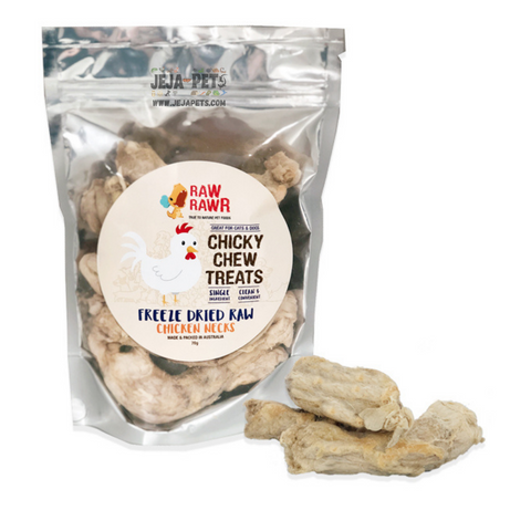 Raw Rawr Chicky Chew Chicken Neck Freeze Dried Cat & Dog Treats - 70g