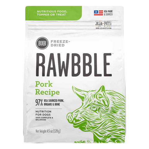 BIXBI Rawbble Pork Freeze Dried Dog Food - 127g / 340g / 737g