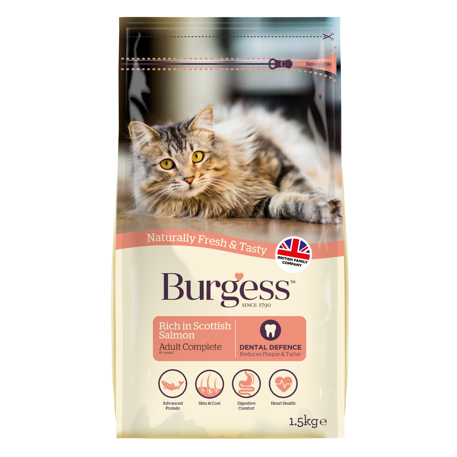 Burgess Adult Cat Scottish (Salmon) - 1.5kg