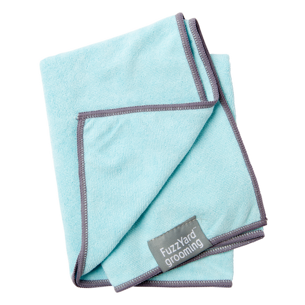 FuzzYard Microfibre Drying Towel (Blue with Grey Trim)