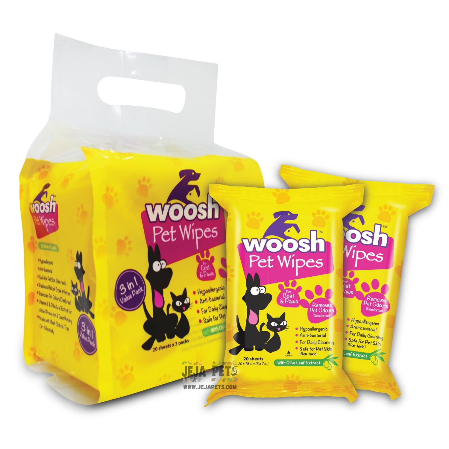 Woosh Pet Wipes - 3 x 20 sheets