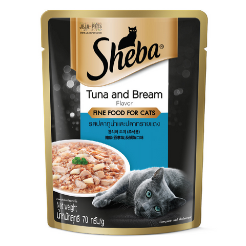 Sheba Tuna & Bream Pouch Wet Cat Food - 70g