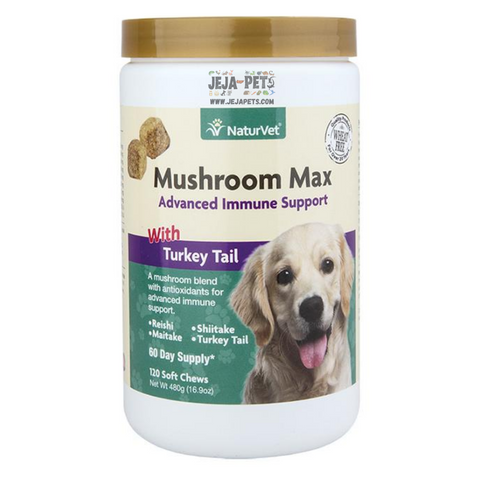 NaturVet Mushroom Max with Turkey Tail Soft Chews - 60 ct (30 day supply) / 120 ct (60 day supply)