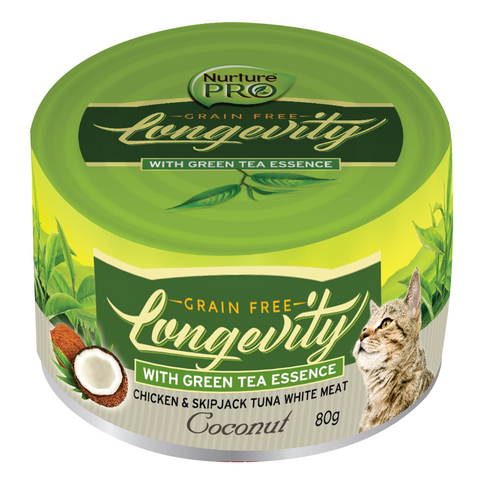 Nurture Pro Longevity Chicken and Skipjack Tuna Meat with (Coconut and Green Tea) Essence - 12 / 24 Cans