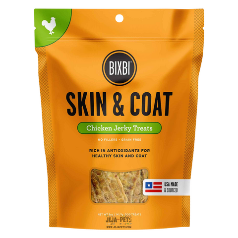 BIXBI Skin & Coat Chicken Jerky Treats for Dogs - 141g