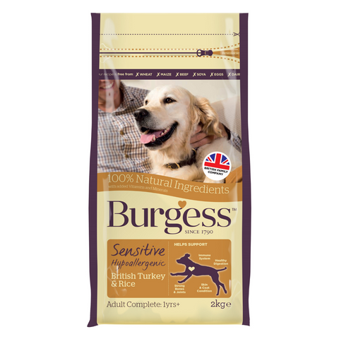 Burgess Sensitive Adult Dog (Turkey & Rice) - 2kg