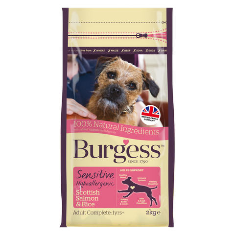 Burgess Sensitive Adult Dog (Salmon & Rice) - 2kg