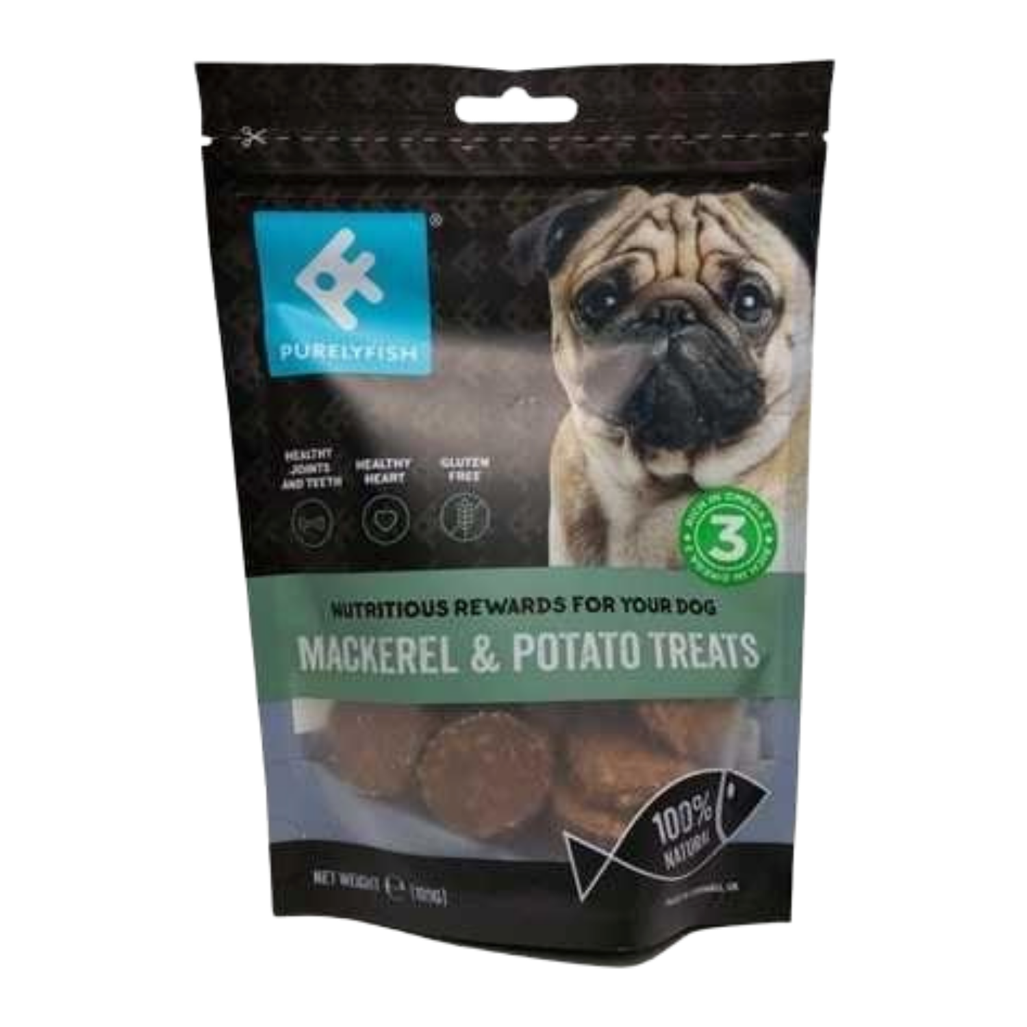 PurelyFish (Mackerel & Potato) Treats for Dogs - 100g