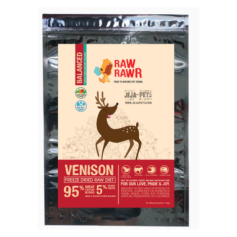 Raw Rawr Freeze Dried Venison Balanced Diet Dog Food - 400g / 1.2kg