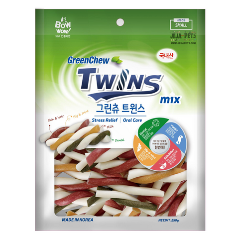 Bow Wow GreenChew Twins Dental Dog Chews - Small / Large