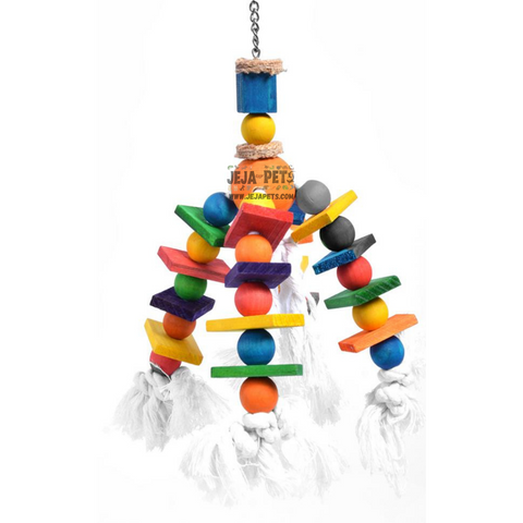Duvo+ Bird Toy with Colourful Cubes and Rope - 35cm