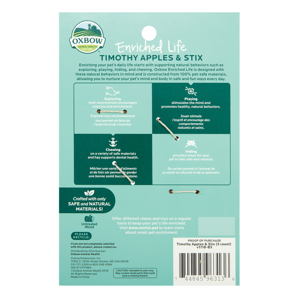 Oxbow Enriched Life Timothy Apples & Stix