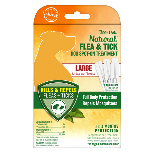 Tropiclean Natural Flea & Tick Spot on Treatment for Dogs - S / M / L