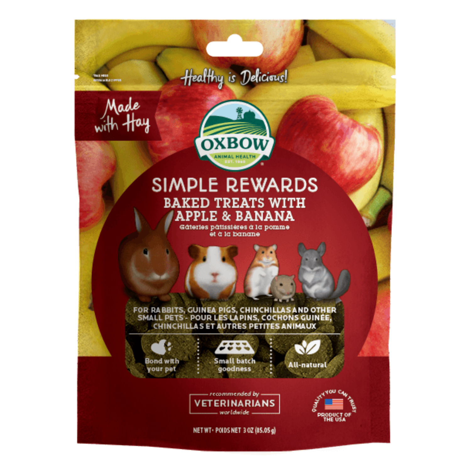 Oxbow Simple Rewards Baked Treats with (Apple and Banana) - 85g