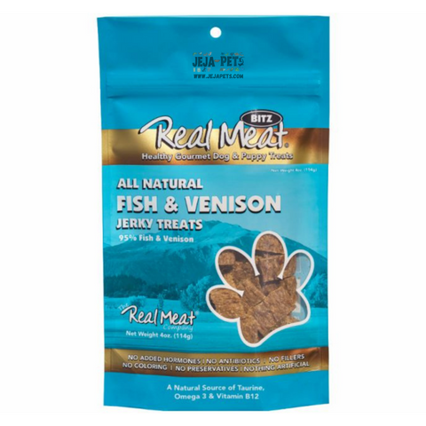Real Meat Fish & Venison Jerky Treats for Dogs - 113g