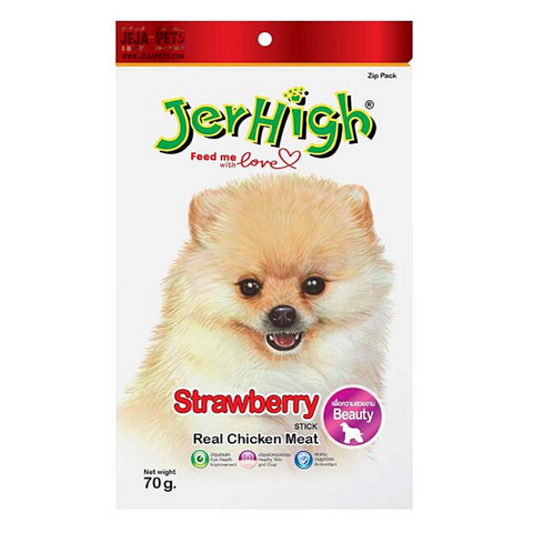 JerHigh Strawberry Stick with Real Chicken Meat Dog Snack - 70g