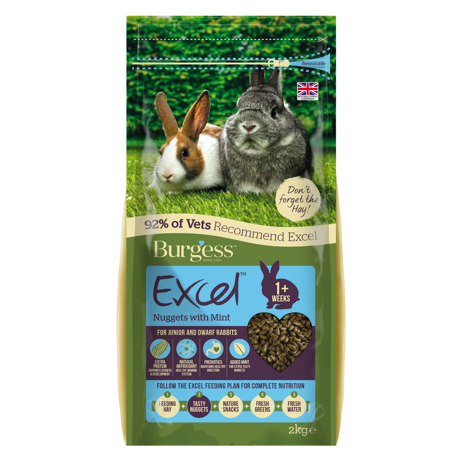 Burgess Excel Junior & Dwarf Rabbit Nuggets with (Mint) - 2kg