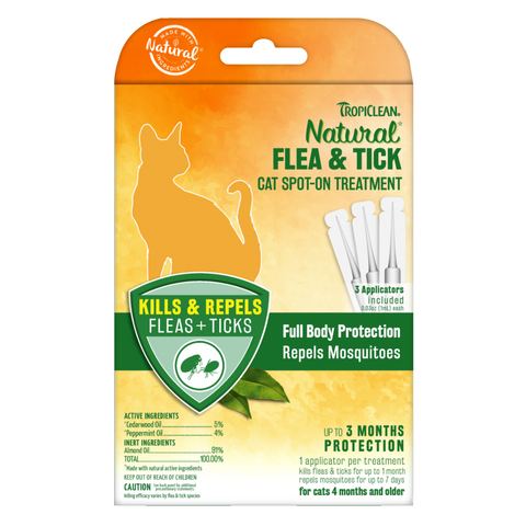 Tropiclean Natural Flea & Tick Spot on Treatment For Cats