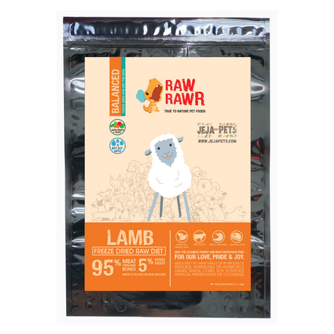 Raw Rawr Freeze Dried Lamb Balanced Diet Dog Food - 400g / 1.2kg