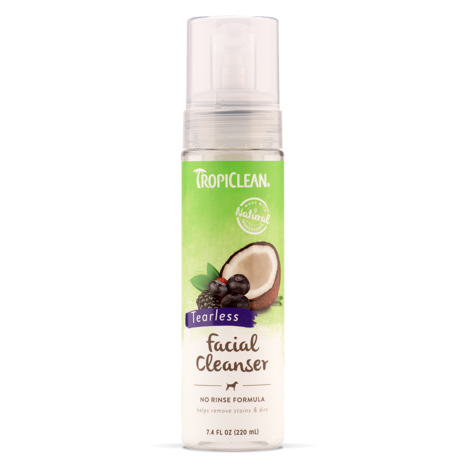 Tropiclean Waterless Pet Facial Cleanser - 219ml