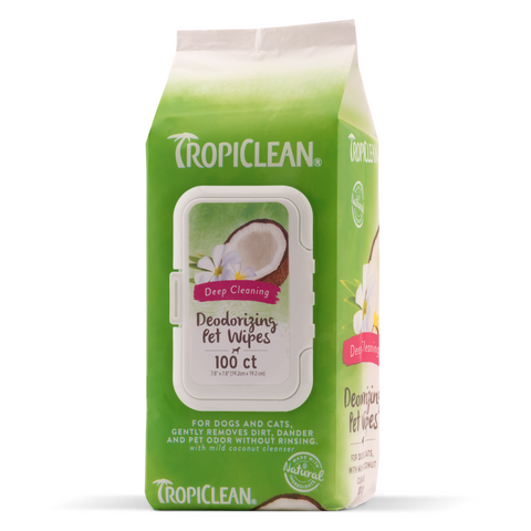[DISCONTINUED] Tropiclean Deep Cleaning Pet Wipes - 100pcs