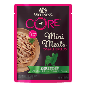 Wellness CORE for Small Breed Grain-Free Mini Meals (Shredded Chicken & Lamb Entrée in Gravy)
