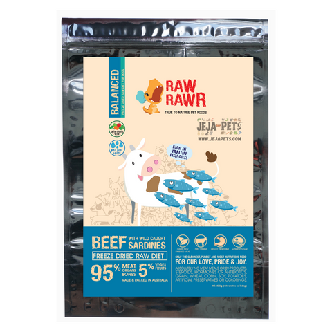 Raw Rawr Freeze Dried Beef & Sardine Balanced Diet Dog Food - 400g / 1.2kg