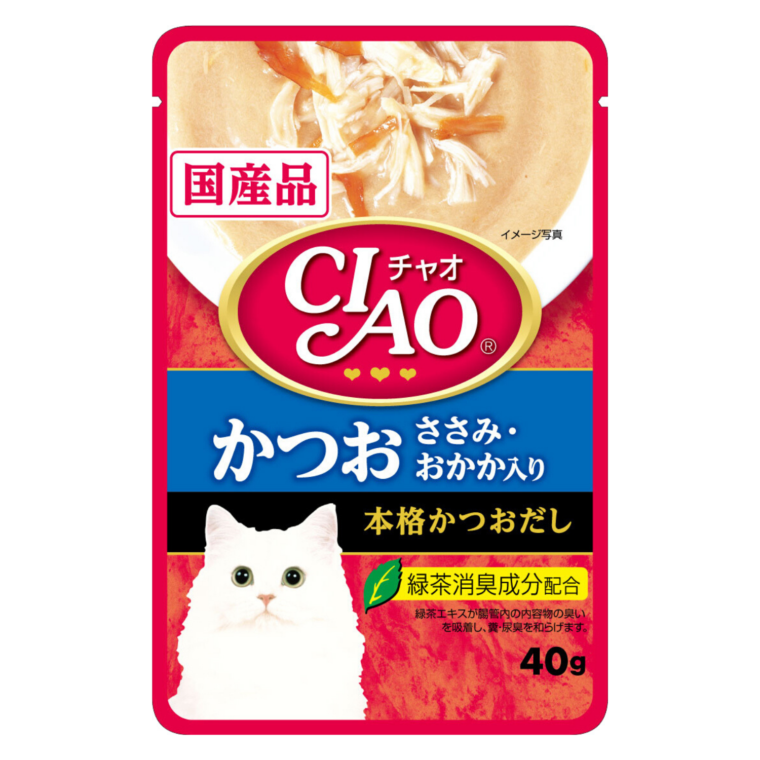 Ciao Creamy Soup Pouch Tuna Katsuo & Chiken Fillet with Dried Bonito Topping - 40g