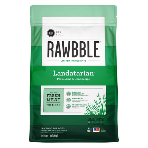 BIXBI Rawbble Landatarian (Pork, Lamb & Goat) Dry Dog Food - 1.81kg / 10.88kg