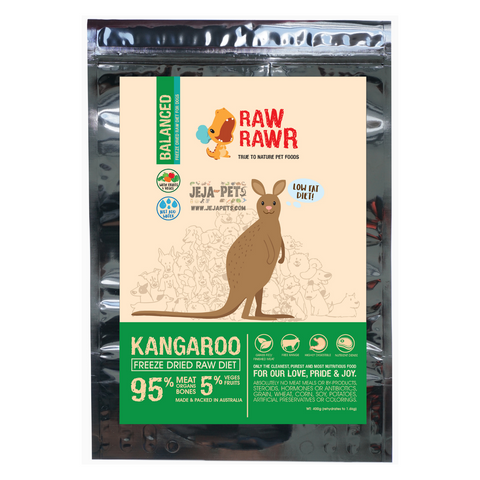 Raw Rawr Freeze Dried Kangaroo Balanced Diet Dog Food - 400g / 1.2kg