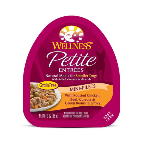 Wellness Small Breed Petite Entrees Mini-Filets - (Roasted Chicken, Beef, Carrots & Green Beans in Gravy) - 85g