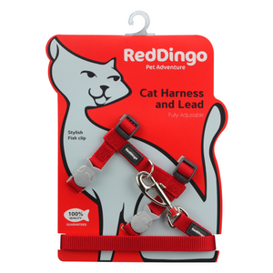 Red Dingo Cat Harness and Lead Combo Classic - (Red)
