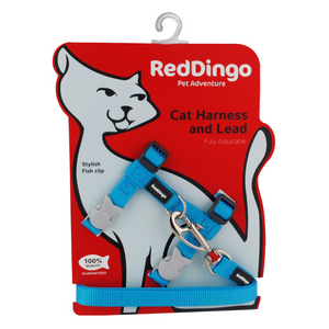 Red Dingo Cat Harness and Lead Combo Classic - (Turquoise)