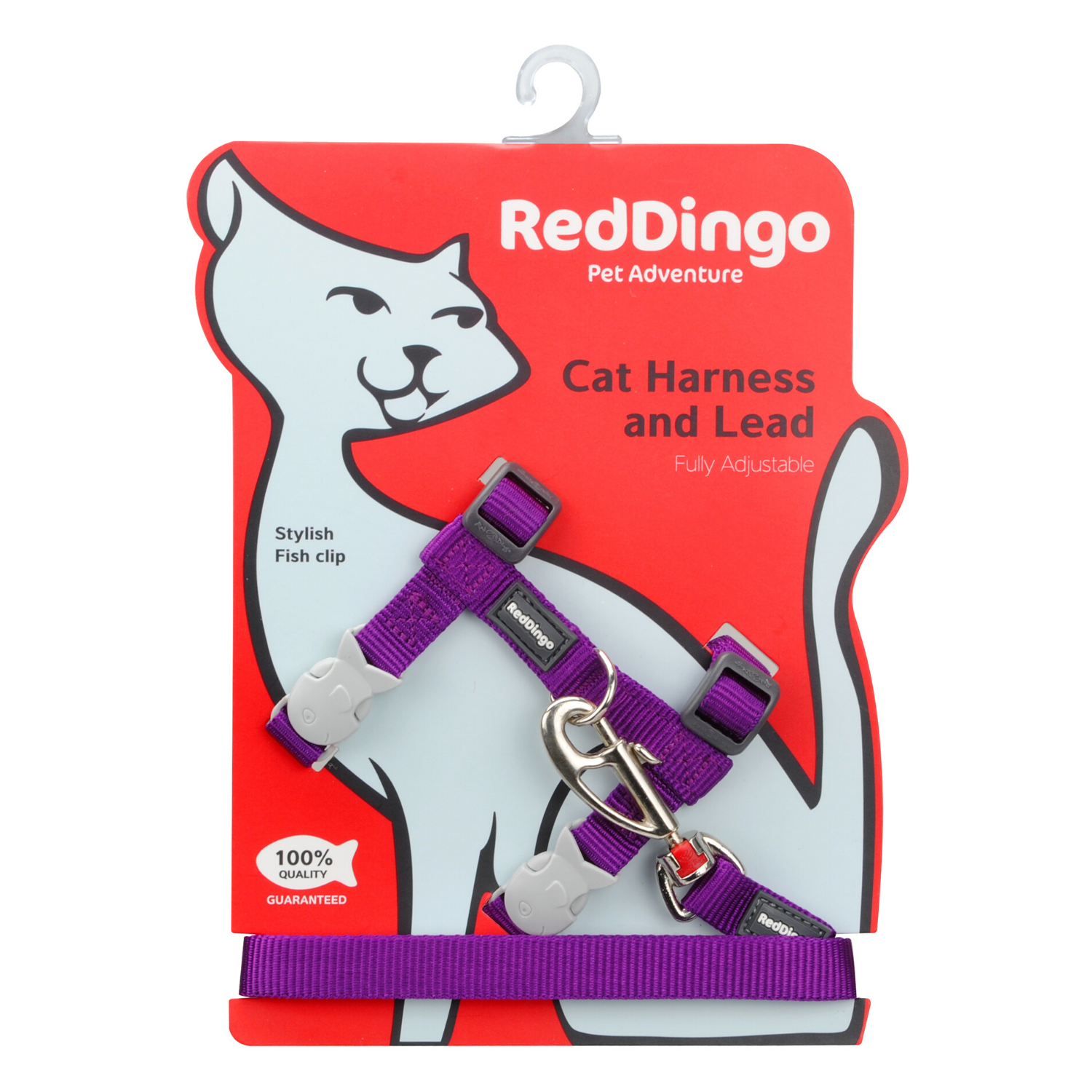 Red Dingo Cat Harness and Lead Combo Classic - (Purple)